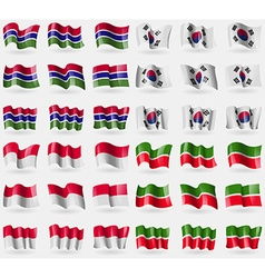 Gambia korea south monaco tatarstan set of 36 vector
