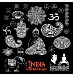 India Design Elements Chalkboard Set vector image