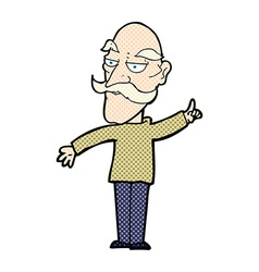 Comic cartoon old man telling story vector
