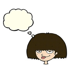 Cartoon mean female face with thought bubble vector