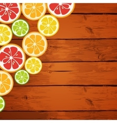 Lemon lime orange and grapefruit on wooden vector