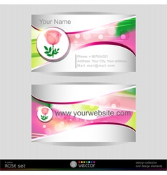 Beautiful pink rose business card template art vector