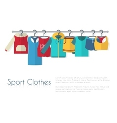 Racks with sport clothes on hangers vector