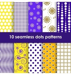Yellow and lilac seamless patterns with dots vector