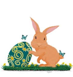 Rabbit hold easter egg vector