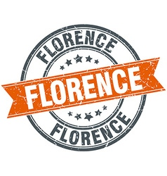 Florence red round grunge vintage ribbon stamp vector