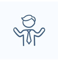 Man with raised arms sketch icon vector