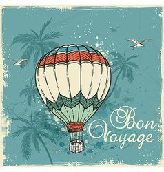 Green retro background with air balloon vector