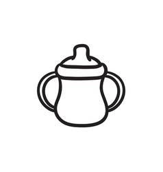 Baby bottle with handles sketch icon vector