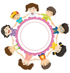 Banner design with kids holding hands in circle vector image vector image