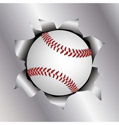 Baseball thru metal sheet vector