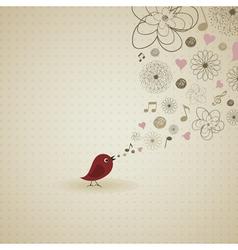Birdie sings vector image vector image