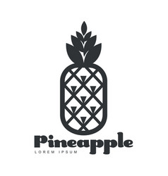 Black and white symmetric graphic pineapple logo vector