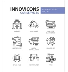 Car Services modern thin line design icons and vector image vector image