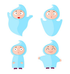 Children with halloween costumes ghost cheerful vector