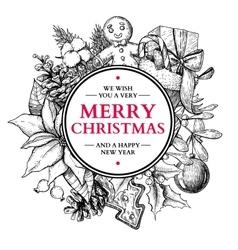 Christmas circle frame hand drawn vector image vector image