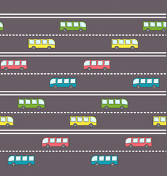 Cute bus on the road pattern vector