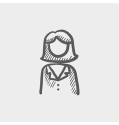Female doctor sketch icon vector