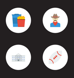 flat icons western snack white house and other vector image vector image