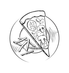 French fries and italian pepperoni pizza sketch vector