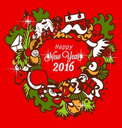 Happy New Year 2016 with handmade sketch vector image vector image