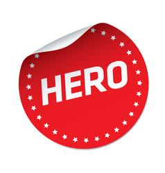 hero red sticker vector image