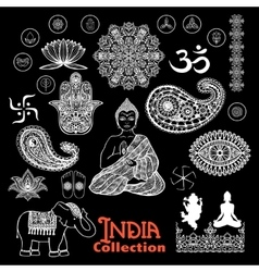 India Design Elements Chalkboard Set vector image