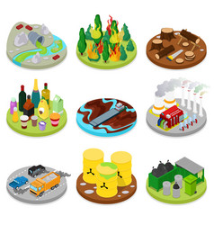Isometric environmental pollution set chemical vector