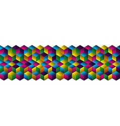 Muliticolored cubes strip pattern vector image vector image