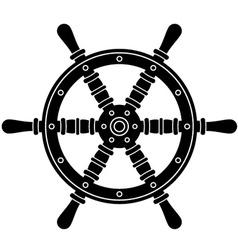 Nautical boat steering wheel silhouette vector