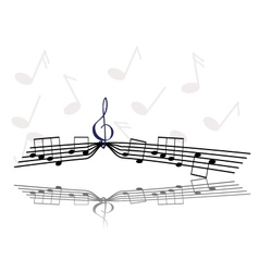 Notes and treble clef vector