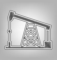 Oil drilling rig sign pencil sketch vector
