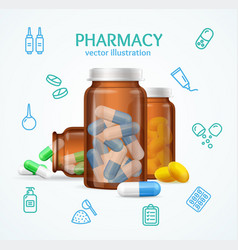 pharmacy concept with pills capsules in medical vector image vector image