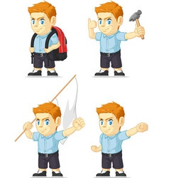 Red Head Boy Customizable Mascot 7 vector image vector image