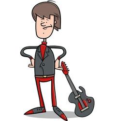 rock man with guitar cartoon vector image