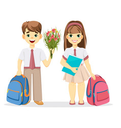 Schoolboy and schoolgirl with backpack vector