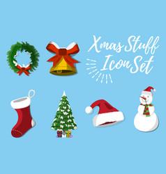 Set of christmas stuff vector