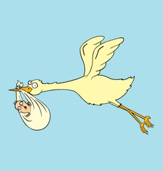 Stork with baby vector