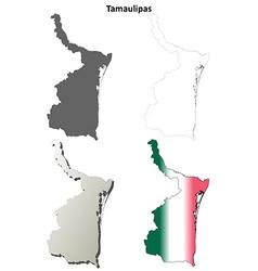 Tamaulipas blank outline map set vector