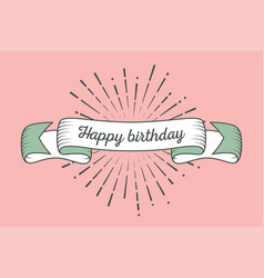 trendy retro ribbon with text happy birthday and vector image vector image