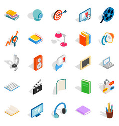 Tutorial icons set isometric style vector