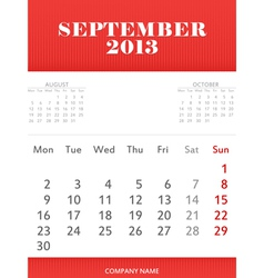 September 2013 calendar design vector image