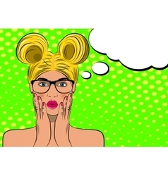 Pop art surprised blond woman face vector