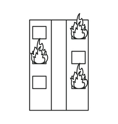 Fire building residential emergency line vector