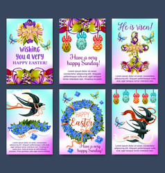Happy easter greeting card and poster set vector