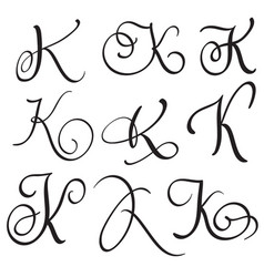 set of art calligraphy letter k with flourish of vector image