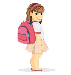 schoolgirl with backpack coming back to school vector image