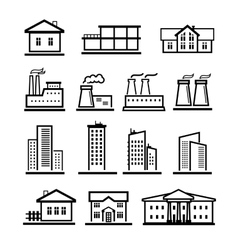 black buildings and factories icons set vector image