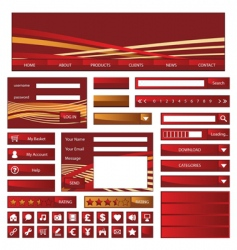 web objects red and gold vector image