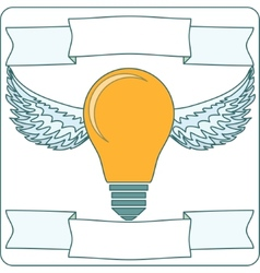 Light Bulb with Wings and Banners vector image